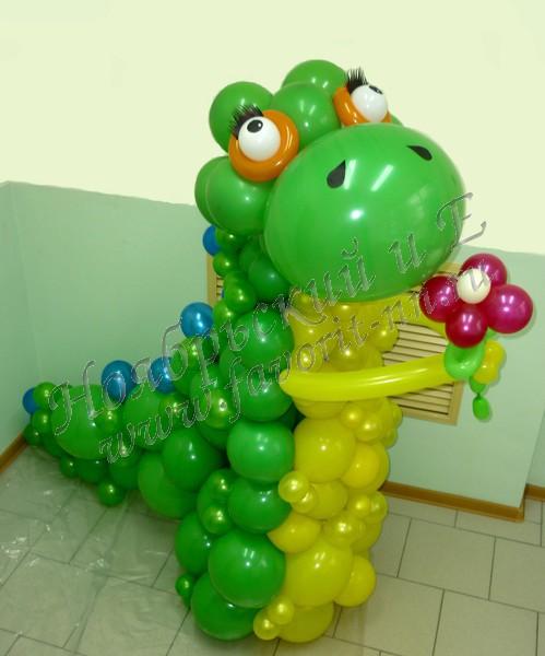 Динозаврик из шаров мастер класс