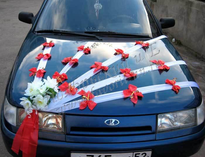 Канзаши ленты на свадебную машину